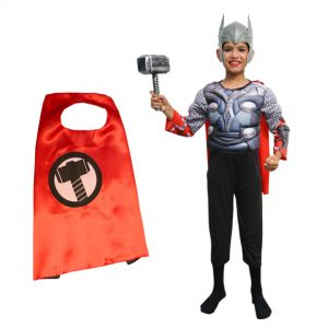 Thor Costume For Kids – Set of 4 (Costume, Headgear, Hammer, Cape)