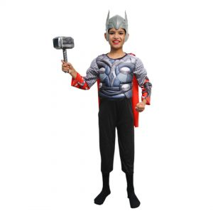 Thor Dress For Kids – Superhero Set of 3(Costume,Headgear,Hammer)