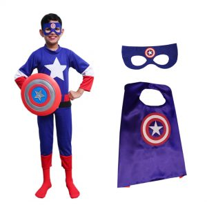Captain America Outfit For Kids – Set of 4(Costume,Shield,Mask,Cape)