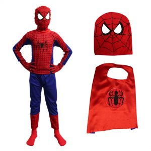 Spiderman Dress For Boys Set of 4 (Costume, Gloves, Mask, Cape)