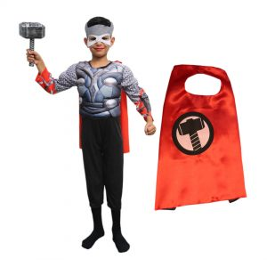 Thor Costume For Kids – Set of 4(Costume,Mask,Hammer,Cape)