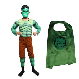 Hulk Dress For Kids Superhero Muscle Costume Set (Costume,Mask)