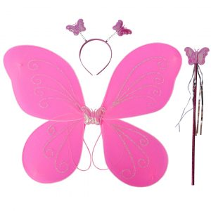 Fairy Butterfly Wings Pink Complete Set(Wings,Hairband,Stick)