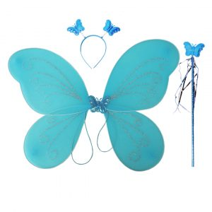 Fairy Butterfly Wings Blue Complete Set(Wings,Hairband,Stick)