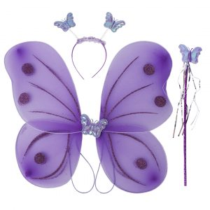 Fairy Butterfly Wings Purple Complete Set(Wings,Hairband,Stick)