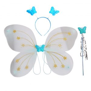 Fairy Butterfly Wings White Complete Set(Wings,Hairband,Stick)