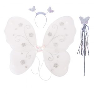 Fairy Butterfly Wings Off White Complete Set(Wings,Hairband,Stick)